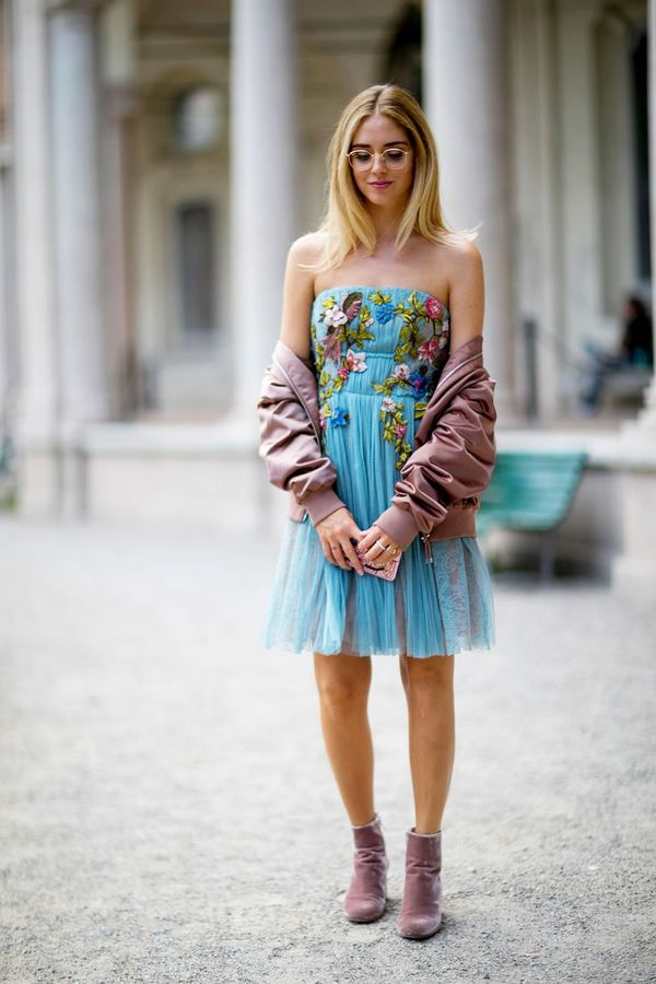 <p>For your next evening out, try a bomber jacket and strapless dress.</p>