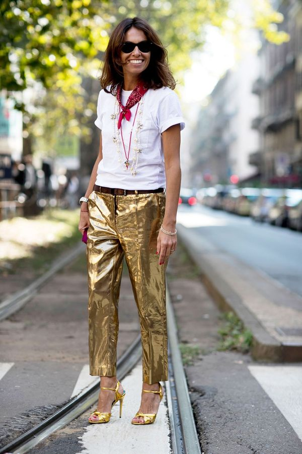 <p>Metallic pants need to be dressed down. Add a white tee, and a banadana, and you're golden.</p>