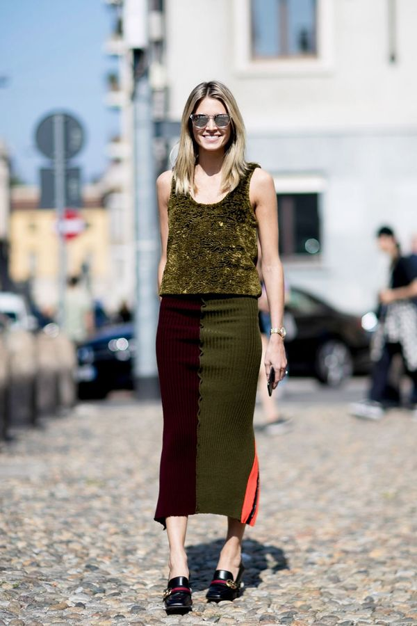 <p>We love a long knitted midi skirt paired with loafers.</p>