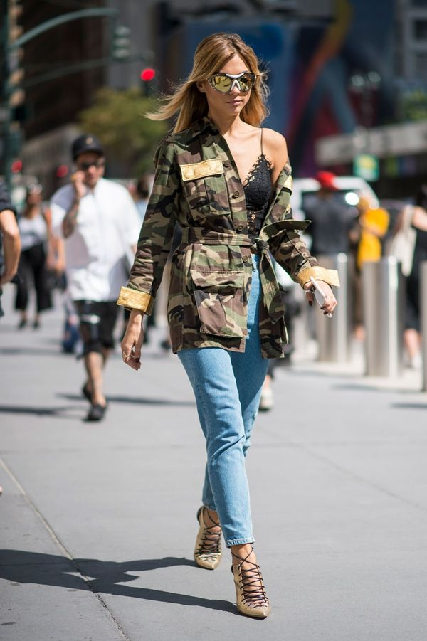 <p>Keep your jacket half draped off your shoulder (AKA the only way to wear a jacket this year).</p>