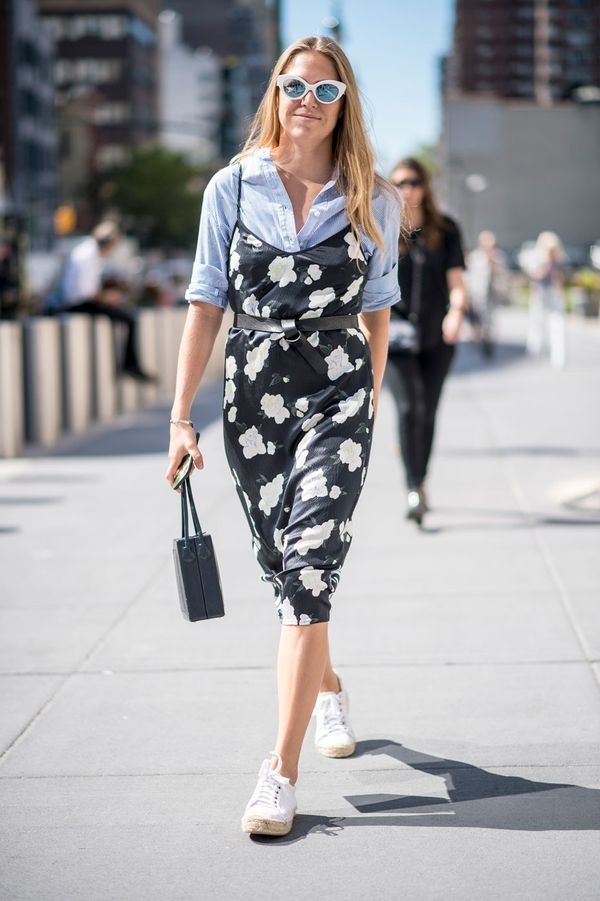 <p>Layer a button-down under a slip dress for the easiest work-to-drinks style hack.</p>