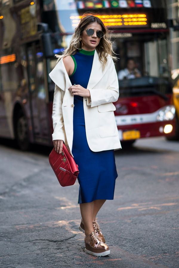 <p>Dress up a sporty dress for work with a white crisp blazer.</p>