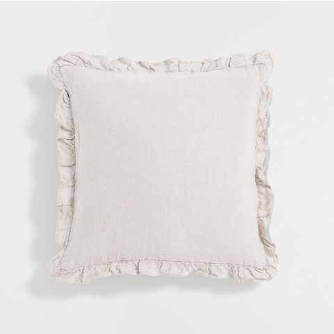 Frilled Linen Cushion Cover