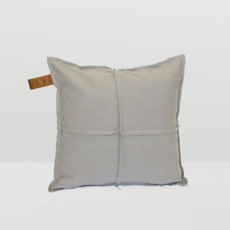 Frayed Edge Square Cushion in Stone