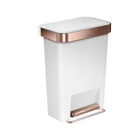 Rectangular Pedal Bin with Liner Pocket - Rose Gold & White - 45L