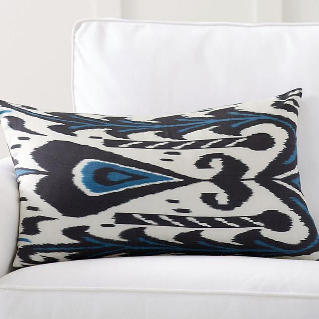 Pottery Barn Edith Ikat Print Silk Lumbar Cushion