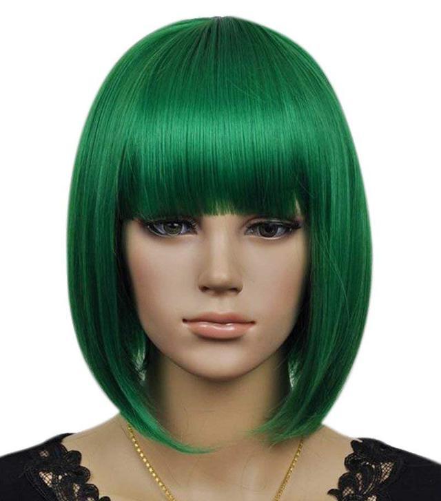 Kalyss Synthetic Fiber Short Straight Dark Green Bob