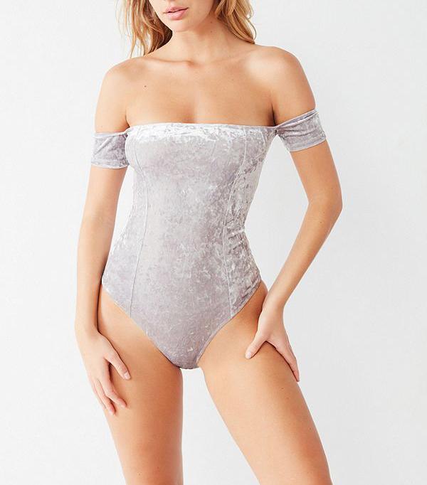 Everly Crushed Velvet Off-the-Shoulder Bodysuit