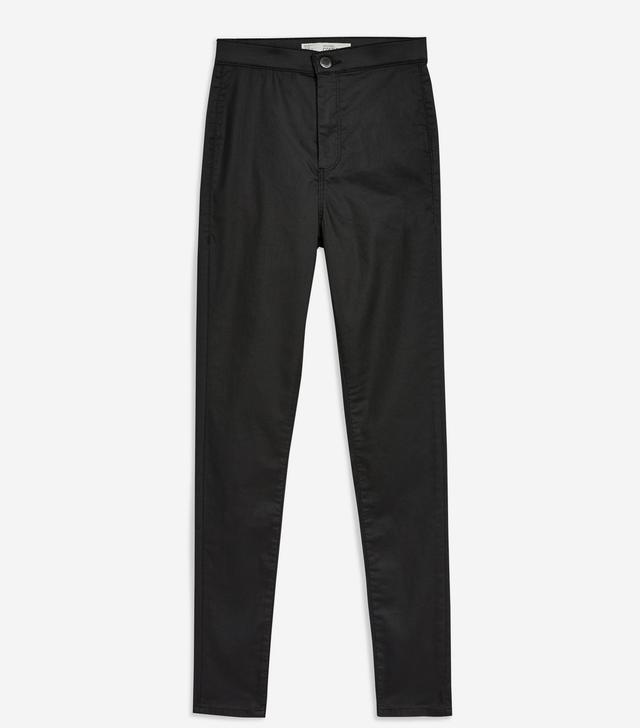 Topshop Black Coated Joni Jeans