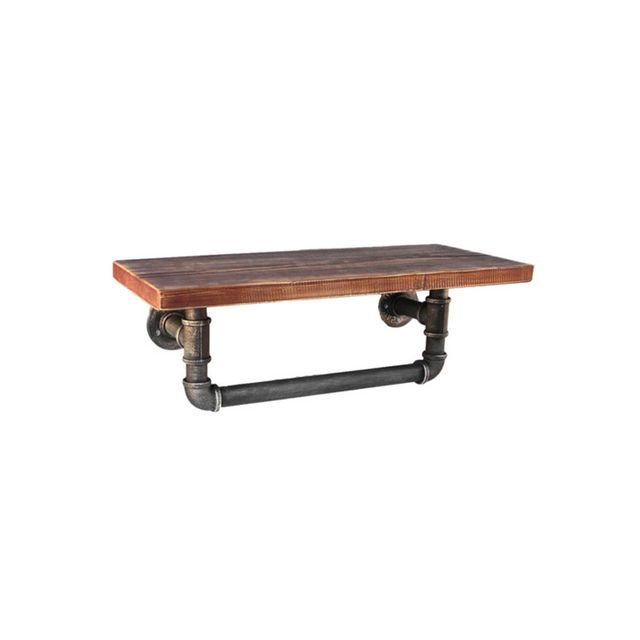 Temple & Webster ReclaimeIndustrial Floating Pipe Shelf with Rail