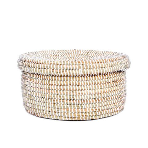 Sweetgrass Flat Lidded Basket