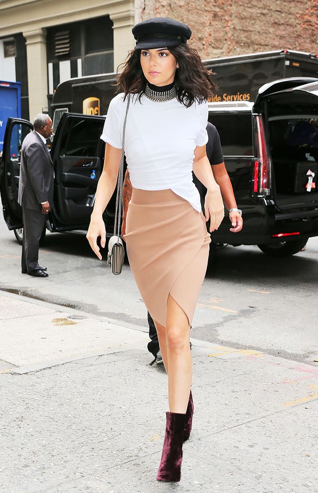 timeless pencil-skirt outfits: Kendall Jenner