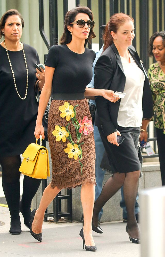 timeless pencil-skirt outfits: Amal Clooney