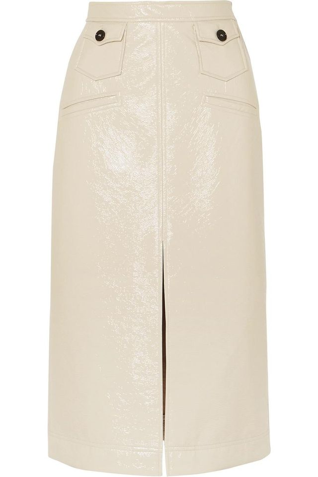 Faux Patent-leather Pencil Skirt