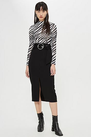 Ring Buckle Midi Skirt