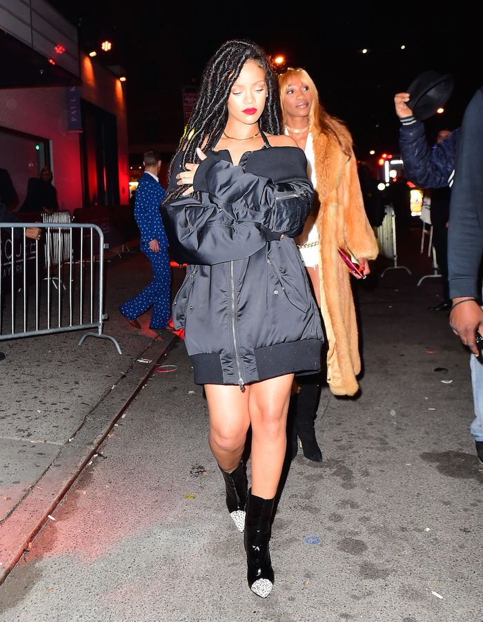 Of Course Rihanna Wore Only a Jacket to a Club