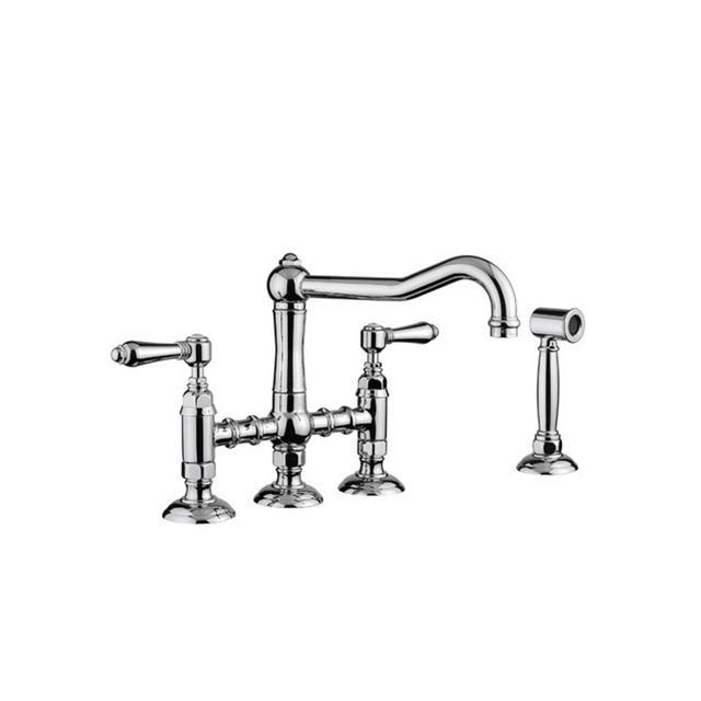 Temple & Webster Genoese Twin Handle Bridge Sink Mixer