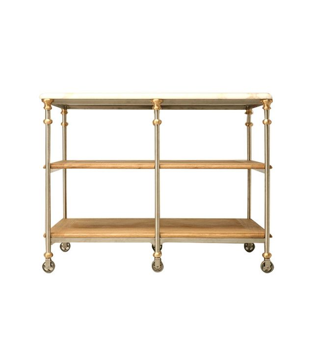 Old Plank Road Designer Stainless Steel and Bronze Kitchen Island