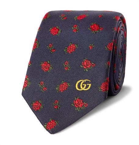 Gucci Embroidered Silk-Faille Tie
