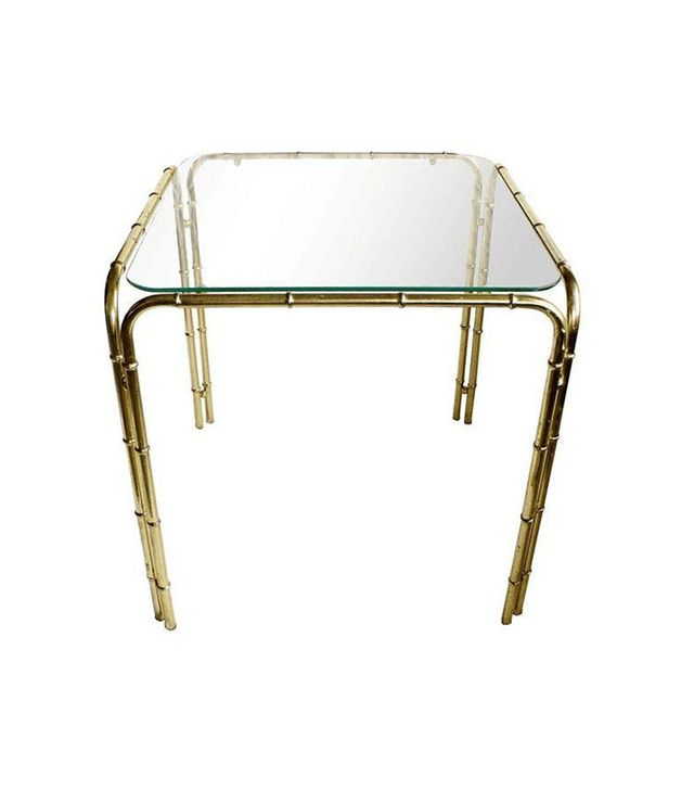 Chairish Brass Faux Bamboo Side Table