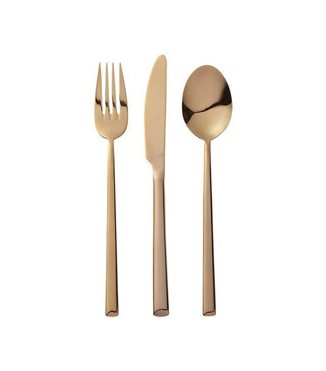 CB2 12-Piece Shiny Copper Flatware Set