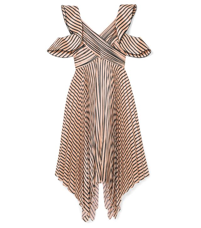 Cutout Pleated Striped Satin Dress
