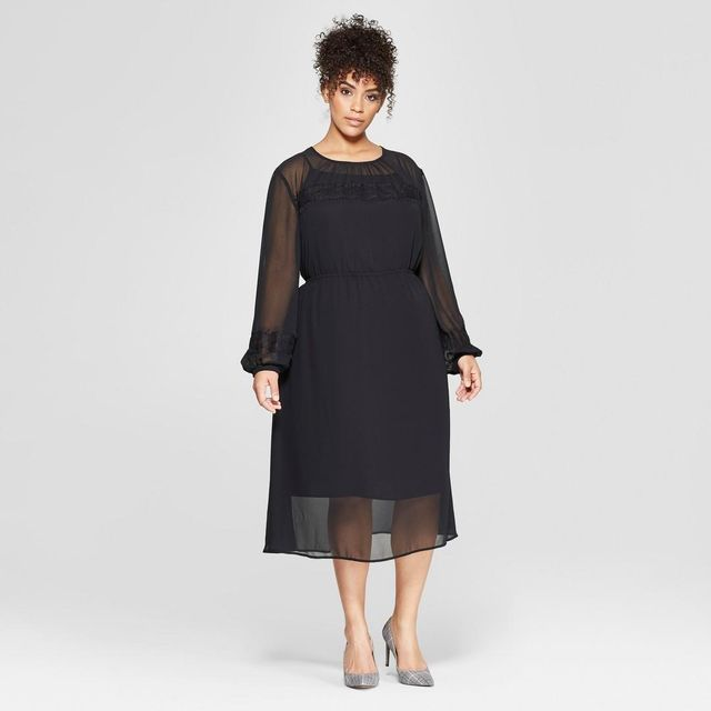 Who What Wear Plus Size Long Sleeve Lace Mix Midi Dress