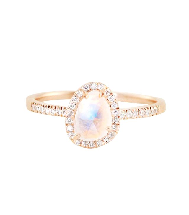Luna Skye 14kt Gold Mini Moonstone and Diamond Ring