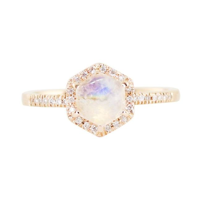 Luna Skye Gold and Diamond Moonstone Hex Ring