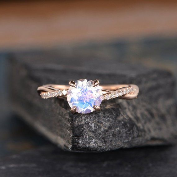 Szeki Studio Rose Gold Twist Solitaire Diamond Infinity Moonstone Engagement Ring