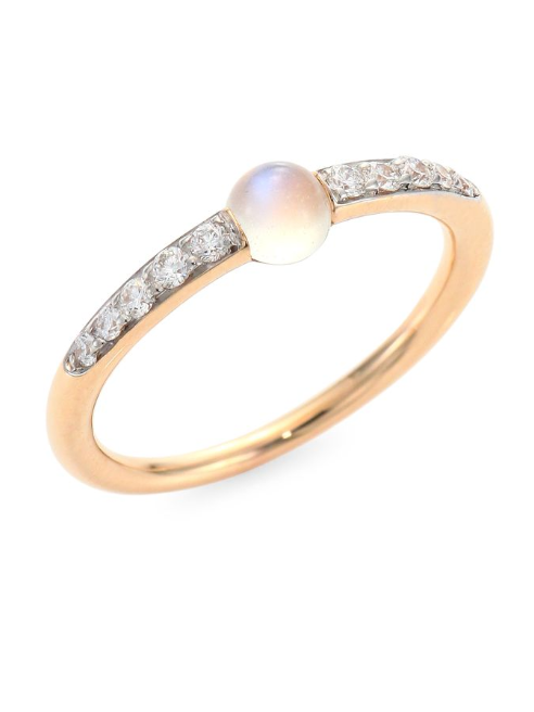 Pomellato M'Ama Non M'Ama Diamond, Moonstone & 18K Rose Gold Ring