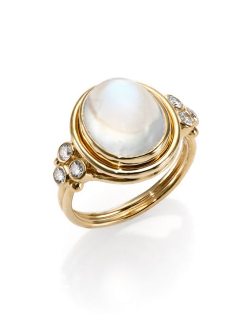 Temple St. Clair Royal Blue Moonstone, Diamond & 18K Yellow Gold Oval Ring