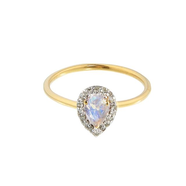 Carrie Elizabeth 14k Solid Gold Pear Shape Moonstone & Diamond Ring