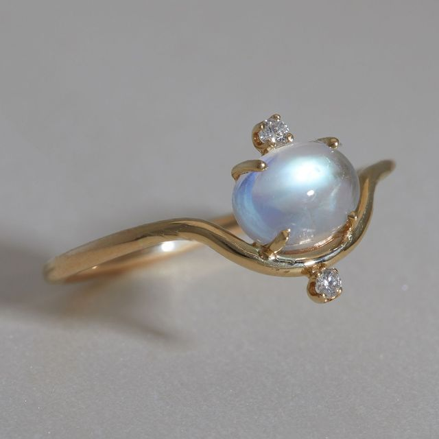 Wwake Nestled Moonstone and Diamond Ring
