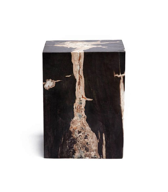 Collected by The Line Petrified Wood Block Stool