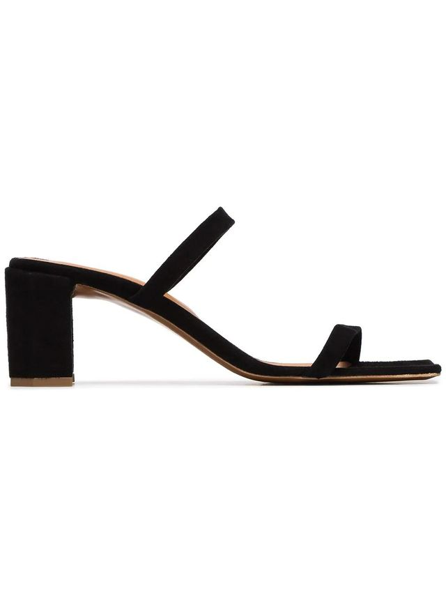 By Far Black Tanya 65 Double Strap Suede Mules