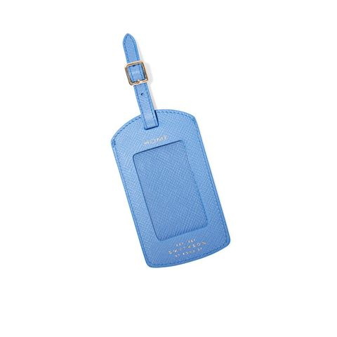 Panama textured-leather luggage tag