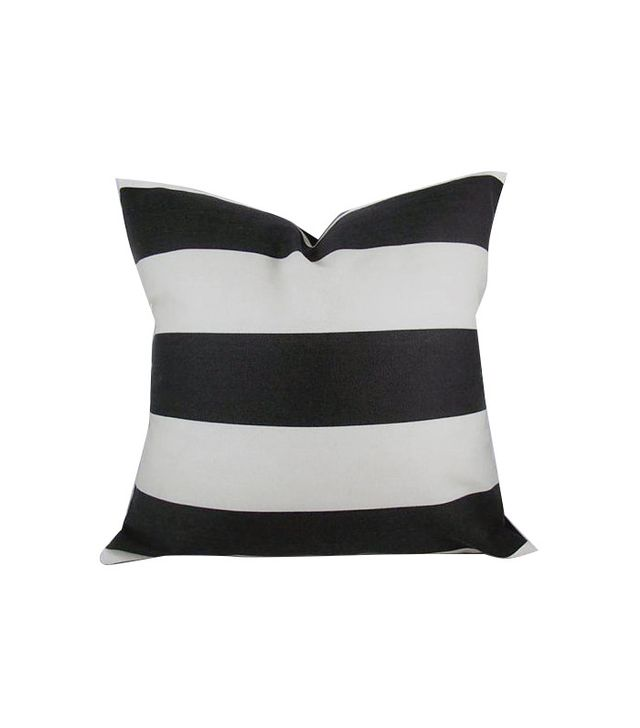 Kimoley Decor Awning Stripe Black Pillow
