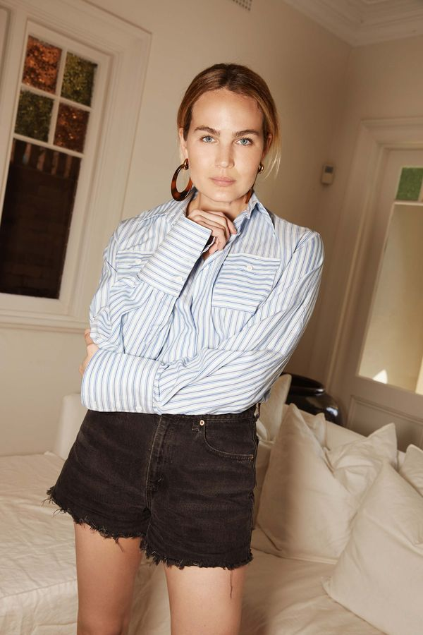 <p><strong>WHO:</strong> Brooke Testoni</p> <p>Throw on your denim shorts and statement earrings for contrast.</p>