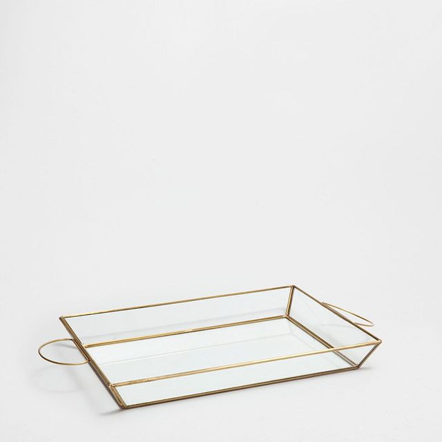 Zara Home Copper Structured Crystal Tray