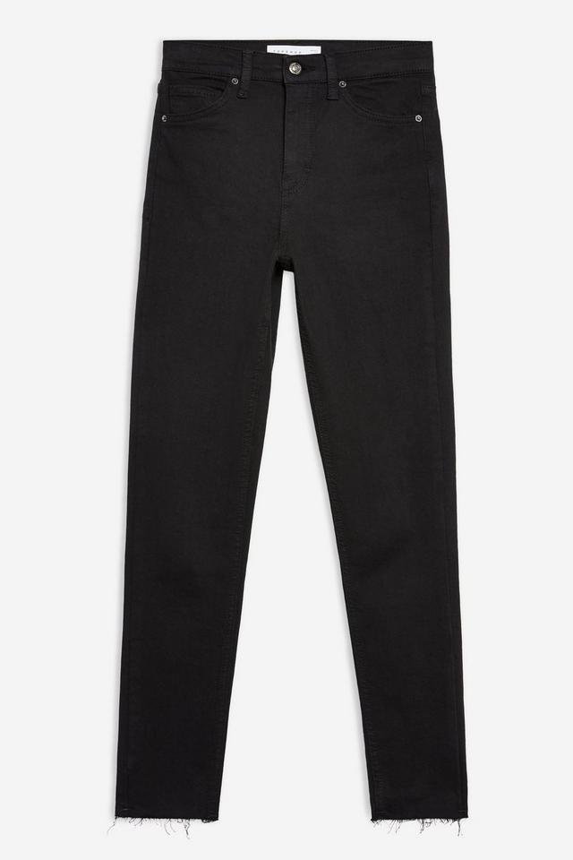 Topshop Black Raw Hem Jamie Jeans