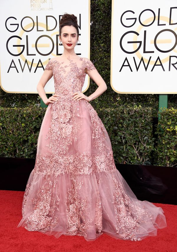 <p><strong>WHO:</strong> Lily Collins</p> <p><strong>WHAT:</strong> Actress</p> <p><strong>WEAR:</strong> Zuhair Murad dress</p>