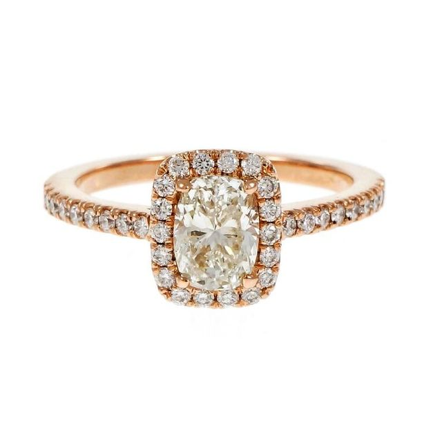 Peter Suchy Cushion Cut Diamond Rose Gold Engagement Ring