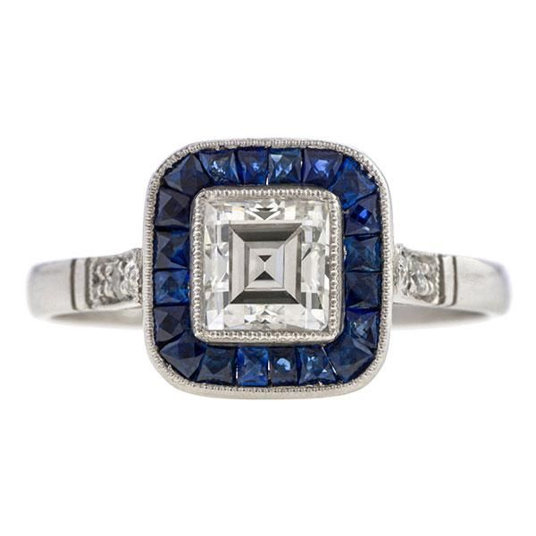 Vintage Art Deco Style Rectangular Diamond Sapphire Frame Ring