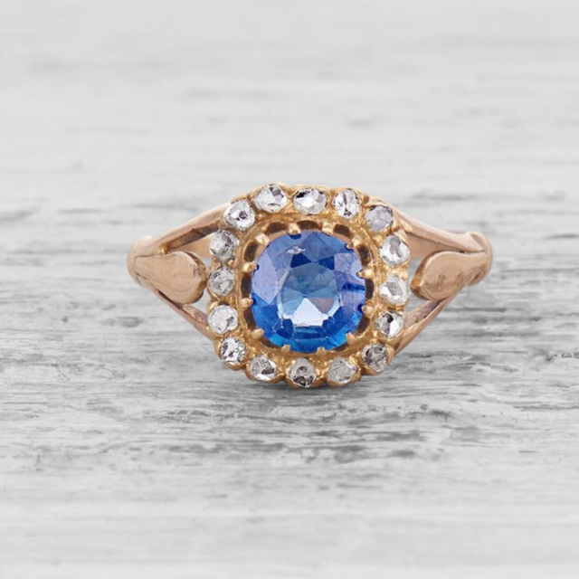 Vintage Victorian Sapphire and Diamond Engagement Ring