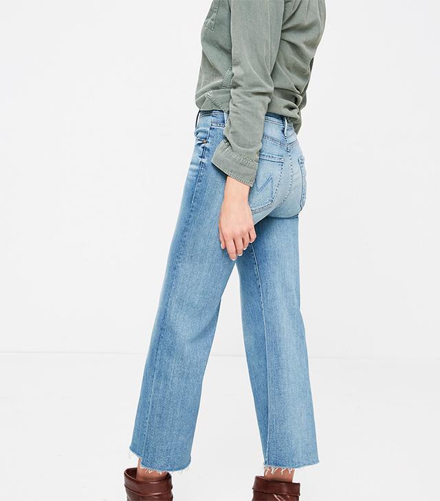 Mother Roller Crop Fray Jeans