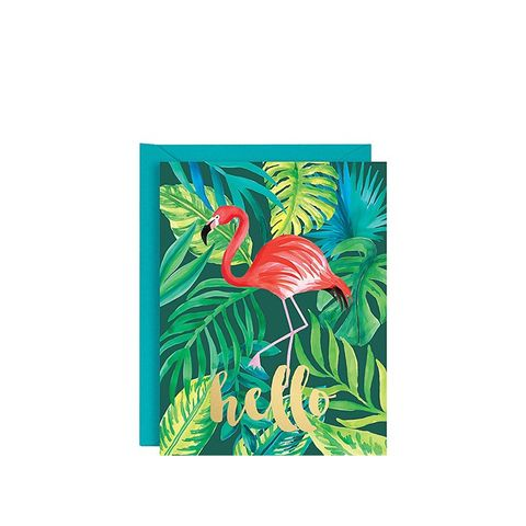 Gold Foil Hello Flamingo A2 Stationery