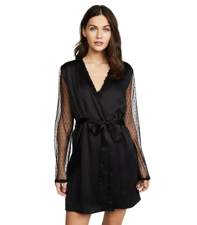 Charmeuse Robe with Lace