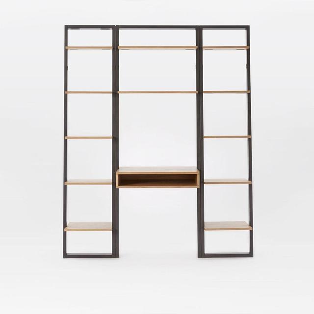West Elm Ladder Shelf Desk + Narrow Bookshelf Set