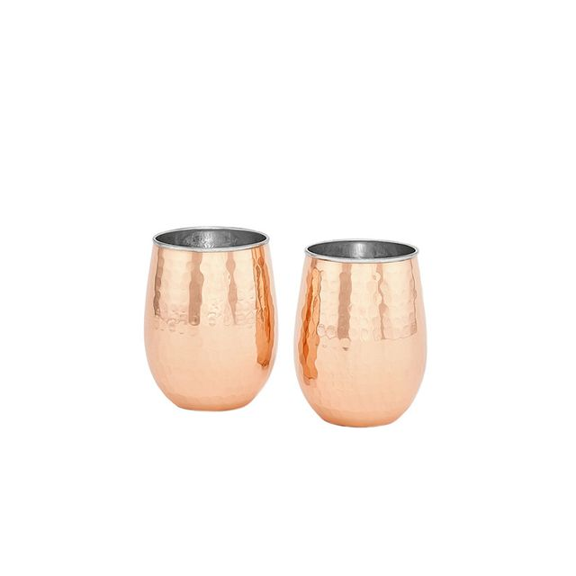 Old Dutch Hammered Solid Copper & Stainless Steel Stemless Wine Tumblers